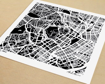 Tokyo Map, Hand-drawn Map Print of Tokyo Japan