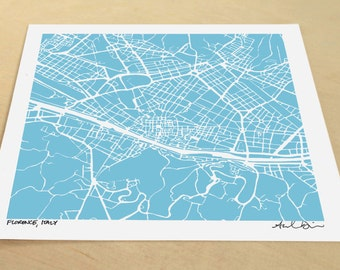 Florence Map, Hand-Drawn Map Print of Florence Italy