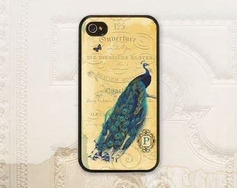 Peacock phone case iPhone 4 4S 5 5s 5C 6 6+ Plus, Samsung Galaxy s3 s4 s5 s6, Vintage style Peacock iPhone case Personalize initial V1635