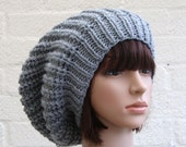 Extra large Knitted Slouchy Silver Grey Beanie hat, Oversized Gray Beanie hat, Chunky knit slouchy hat, winter hat