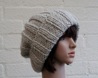Extra large Knitted Slouchy Beige Beanie hat, Oversized knitted Beanie hat, Chunky knit slouchy hat, winter hat