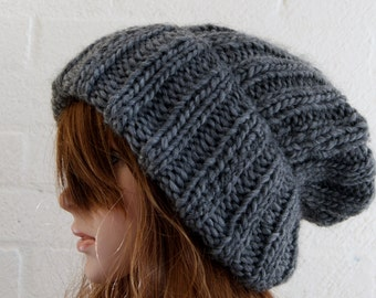 Chunky knit Extra Large Knitted Slouchy Merino and Alpaca Beanie in Grey/Knitted hat