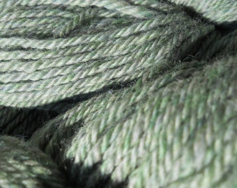 Heathery silver green wool worsted yarn heirloom sweater knit