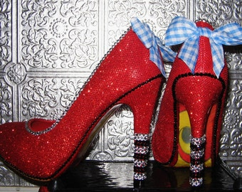 wizard of oz ruby red high heel shoes with rhinestones and yellow brick road soles