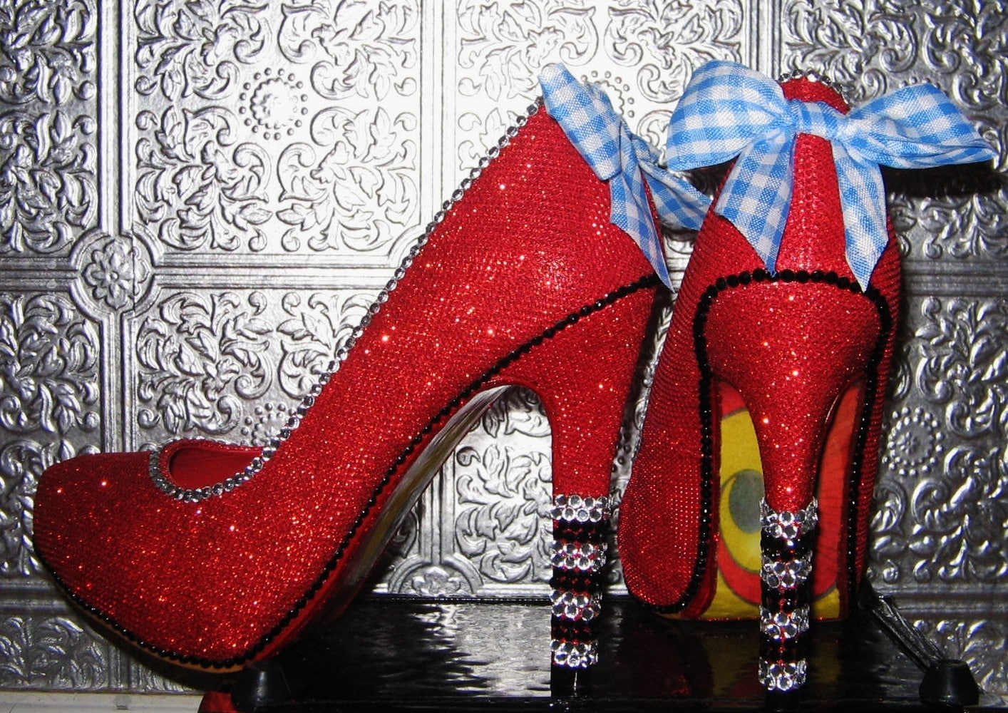 wizard of oz ruby red high heel shoes with rhinestones and yellow