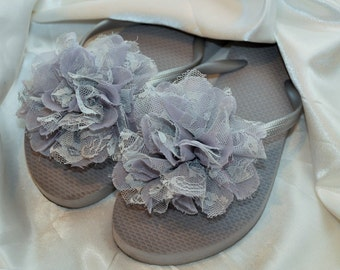 Free USA Shipping! Custom WEDDING Flip Flops Bridesmaid Bride Flip Flops, Simple & Elegant HUGE Flower, Bridesmaid Gifts, Beach Wedding