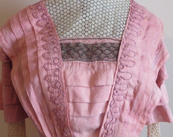 Vintage 1900 1910 era Museum Quality Edwardian WWI pink cotton silk dress XS