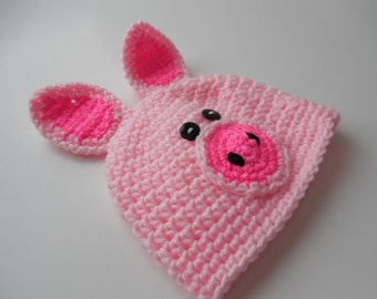 Baby Pig Beanie - Pig Hat - Photo Prop - Pink Piggy Beanie - Baby to Adult Sizing - Handmade Crochet - Made to Order