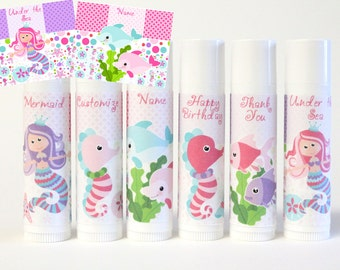Mermaid Party Favor - Under the Sea Theme - Mermaid Princess Party - Mermaid and Sea Friends - Sea Horse Theme - Custom Lip Balm - Set of 6
