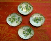 French Hand Painted Scallop Edge Dishes Set of Four