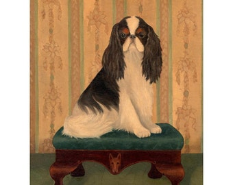 Dogs on Stools 8x10 Prints, Victorian Dog Art, Select 2 of the 4 Shown