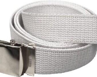 "White Belt & Chrome Buckle 100% Cotton Military 54"" Long Web Belt"