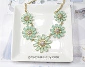 Two tone of Mint Stone Flower Necklace, Mint Bib Necklace, Statement Necklace,Bridal Necklace