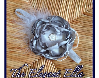 Silver, Gray Satin  Cabbage rose headband with embellishments