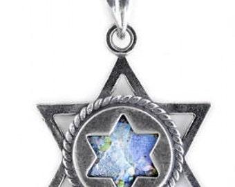 Gentle Double David Star Pendant, 925 Sterling Silver Pendant, Ancient Roman Glass Pendant, Judaica, Roman Glass Jewelry