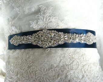 crystal bridal Sash applique, rhinestone Applique, swaroski diamond Bridal Applique, wedding applique, beaded rhinestone applique ZP60
