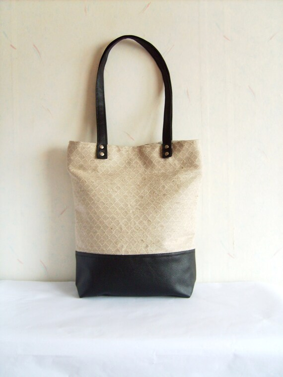 Leather tote, linen tote, geometric print tote bag, black and grey vegan leather and natural linen tote bag