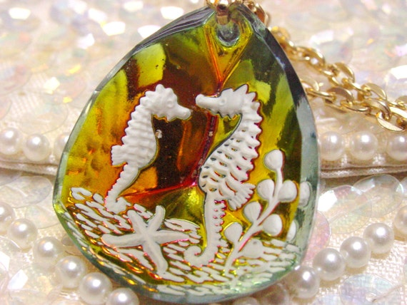 Vintage Glass Seahorse Pendant (retro 70s 80s necklace gold ocean sea beach summer white colorful reverse carved cute shiny clear scene)