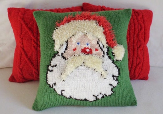 Christmas Santa Knitted Pillow Cover Hand Knit Throw Pillow