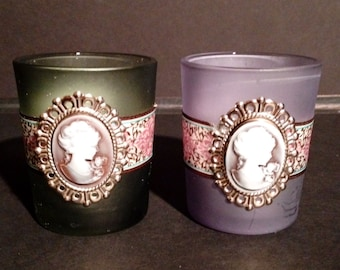 Two handcrafted cameo Tealight candle holder