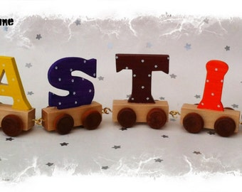 Wooden Name Letter Train - Personalised Hand painted Children's Boys Girls Gifts