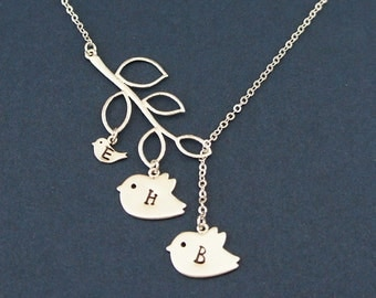 Mom, Dad, and Baby Initial Necklace. Personalized Family Name Necklace. Bird Necklace. Branch Necklace.