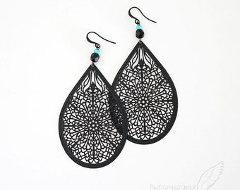 Black Cathedral Filigree, Turquoise and Black Rhondelles, Earrings