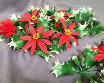 candle rings set of 2 vintage christmas holiday poinsettia taper candle holders