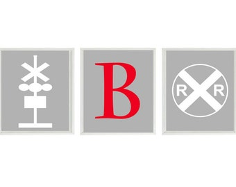 Train Art Print Set - Railroad Sign Initial Personalize Boy Nursery Art Red Gray White Transportation Boy Room Wall Art Home Decor -
