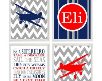 Airplane Nursery Art, Baby Boy Nursery Wall Art, Personalized Nursery Art, Chevron Prints, Navy Blue Red Gray ,Boy Rules, Big Boy Room