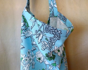 253 Light Blue Floral 100% Linen Nursing Cover