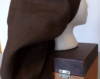 Bark Brown Solid 100% Linen Long Head Band Scarf with Matching Wrap Ties