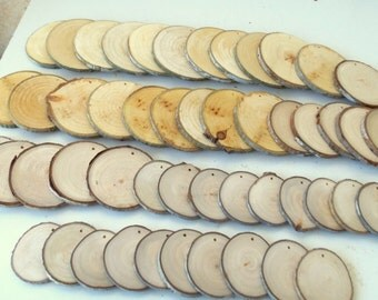 Wood Slices , 2 - 4 inches in diam. - 50 Blank White Tree Branch slices,Drilled - Tags Supplies - Wedding Supplies - Jewelry Supplies.