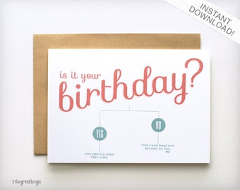 Birthday Card Printable - Is it Your Birthday? Flowchart INSTANT DOWNLOAD