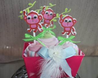 washcloth cupcake baby shower center pice gift packge toper hot pink three little monkeys.