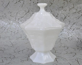 Milk Glass Covered Candy Dish Anchor Hocking Fire King Grape and Leaf Pattern