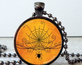 Spider Web Pendant, Spider Web Necklace, Spider Jewelry, Halloween Glass Pendant Necklace, Halloween Jewelry, Halloween Pendant