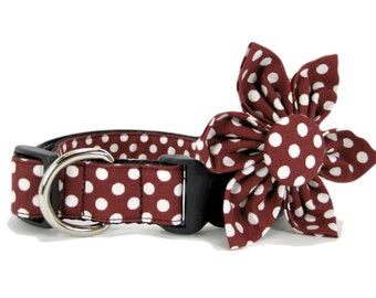 Brown Polka Dot  Dog Collar with Flower set  (Mini,X-Small,Small,Medium ,Large or X-Large Size)- Adjustable