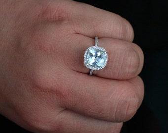 Aquamarine Bridal Ring in 14k White Gold with Aquamarine Cushion 9mm and Diamonds Halo Ring