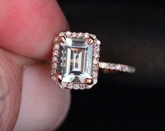 Rose Gold Aquamarine Engagement Ring Diamond Ring 14k Gold with Aquamarine Emerald Cut 8x6mm and Diamonds Halo