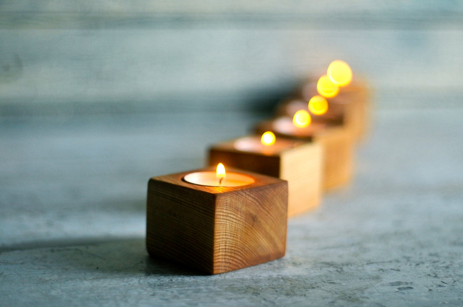 Wood tea light candle holder wood planter wedding decor for Christmas candle displays
