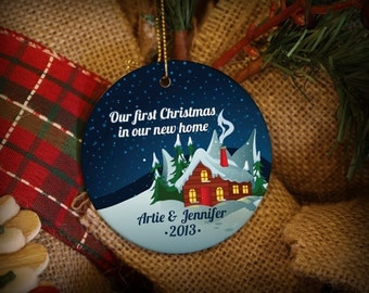 Customizable Christmas Ornament: New Home Snowy Scene