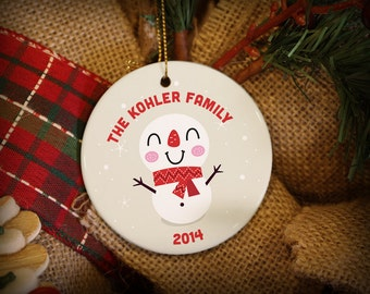 Customizable Christmas Ornament: Happy Whimsical Snowman