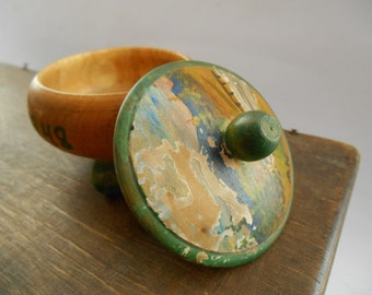 Vintage Swedish wooden trinket box Scandinavian vintage trinket box with a lid 1948