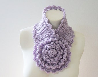 Crochet / Big Flower scarflette (Orchid )