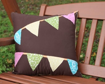 """50% off - READY TO SHIP!  Brown Bunting Pillow {18 x 18"""")"""