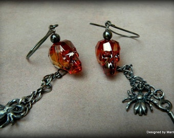 Crystal Skull earrings, sterling silver earrings, day of the dead, antiqued jewelry, Halloween jewelry, Gothic jewelry