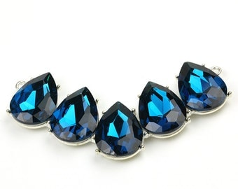 5 Teardrop Silver Connector Setting, with Blue Zircon Rhinestones, 18x25mm, Pkg of 1 PCS, C0DM.SI.RH22.P01