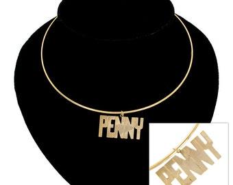 Necklace Choker Bangle Name Penny Nancy Lisa Kim Karen Gold Tone Vintage 70s