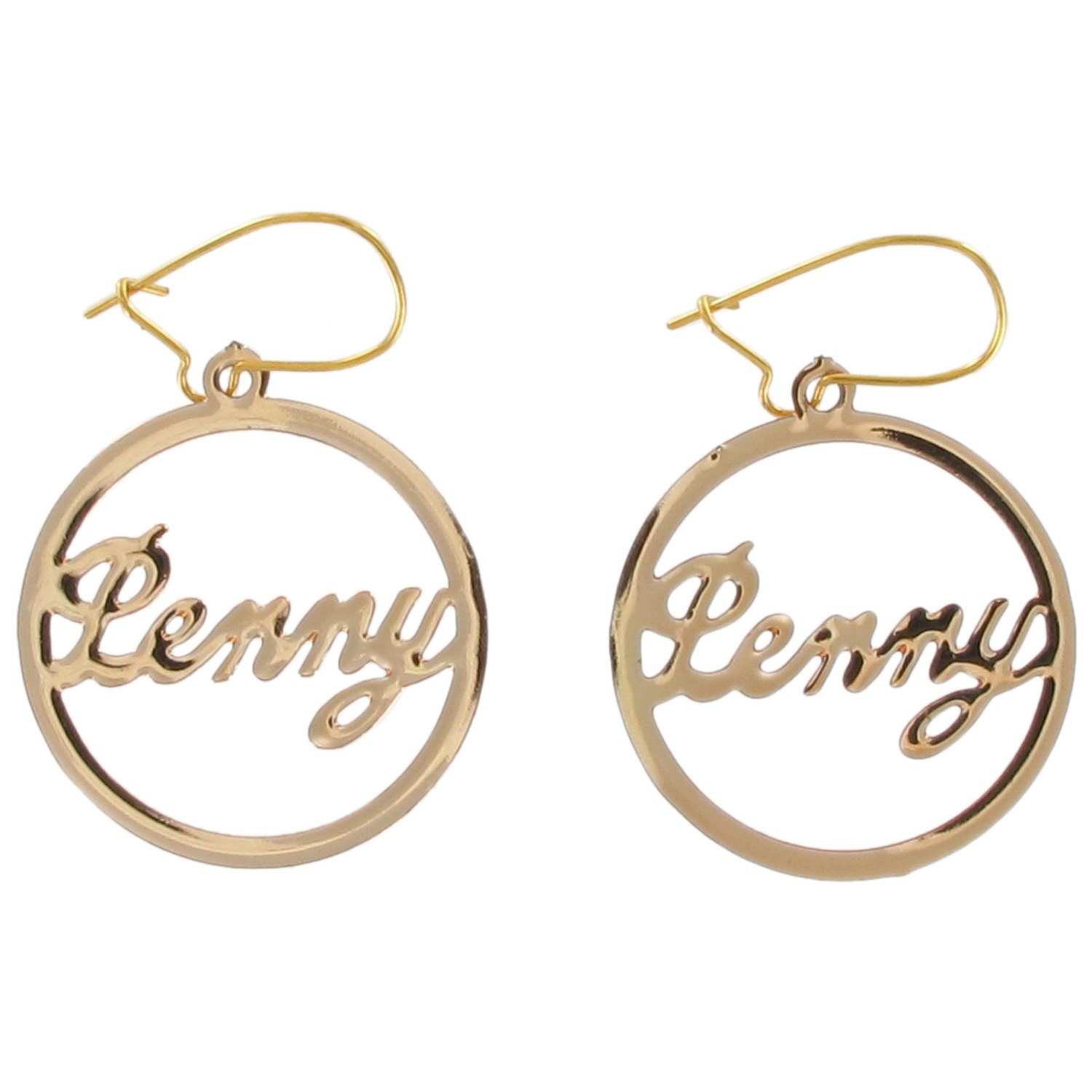 Script Gold Tone Name Pierced Earrings Or Clip Vintage Jewelry